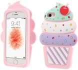 3D Cherry Ice Cream Case (iPhone 5/5S/SE) - Mørk rosa