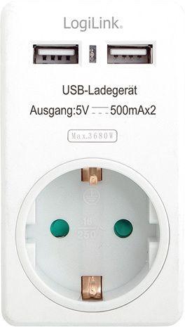 LogiLink AC Adapter med 2 USB-innganger K164-E